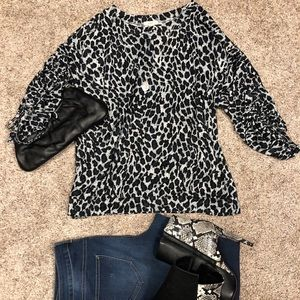 Easel oversized leopard print top